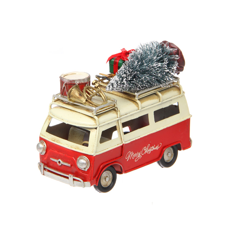 TIN CHRISTMAS CAR BUSRED